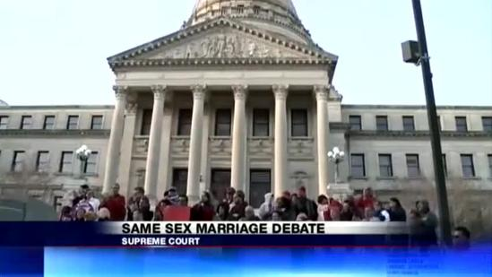 Gay marriage supporters hold vigil in Jackson