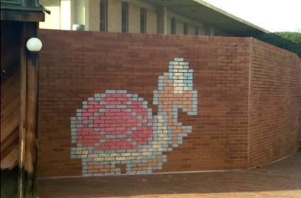 Mario wall art invades UNCC campus