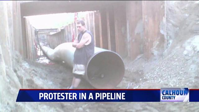 Protestor Stakes Out Pipeline to Delay Construction