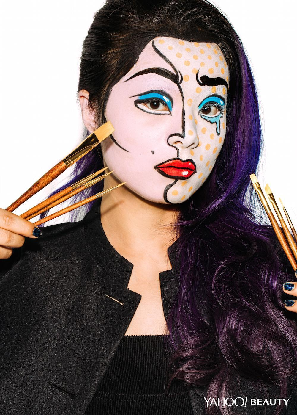 Roy Lichtenstein Halloween Costume.Halloween Beauty Tutorial Pop Art