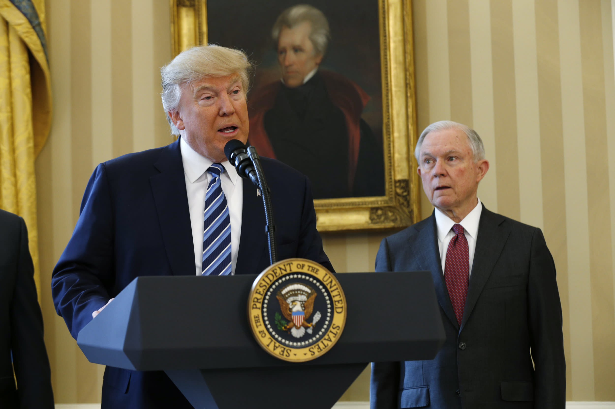 "<p>Trump reportedly called Attorney General <a href=""https://www.cnn.com/2018/09/04/politics/bob-woodward-donald-trump-jeff-sessions/index.html"" target=""_blank"">Jeff Sessions</a> a 'dumb Southerner,' a 'traitor' and 'mentally retarded,' according to famed Washington Post journalist Bob Woodward's book, 'Fear: Trump in the White House.' </p>  <p>(REUTERS/Kevin Lamarque)</p>"