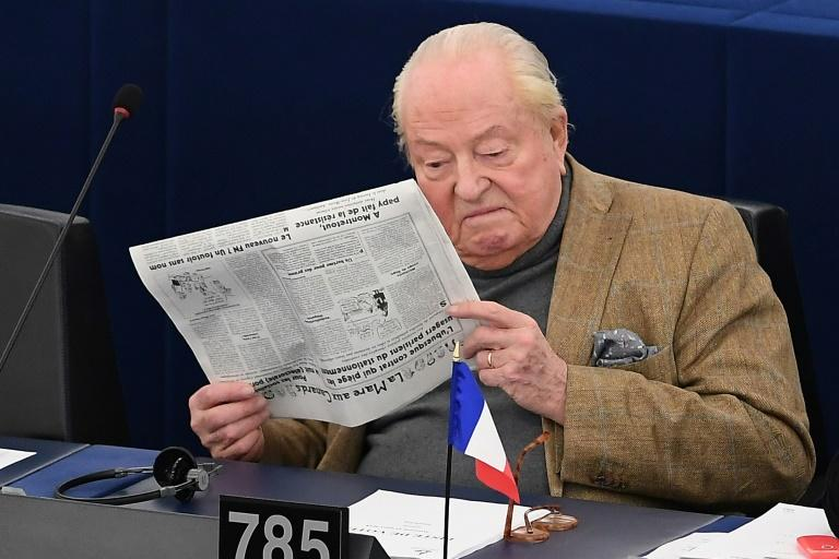 """(FILES) This file photo taken on March 14, 2018 shows French far-right Front National (FN) party's founder, former leader and MP Jean-Marie Le Pen at the European Parliament in Strasbourg, France. Le Pen has been charged with """"embezzlement of public funds"""""""