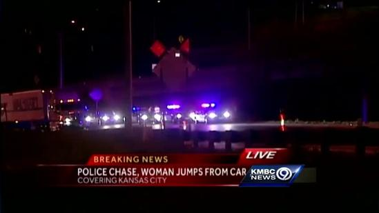 Woman jumps from car after police chase