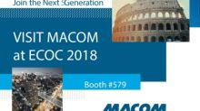 MACOM to Showcase Smart Solutions Supporting 5G, Cloud Data Centers, Client Access and Metro/Long Haul Applications at ECOC 2018