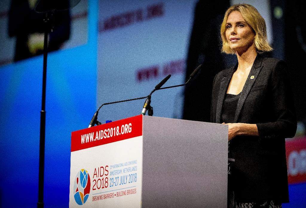 South African actress Charlize Theron speaks at the 22nd International AIDS conference in Amsterdam (AFP Photo/patrick van katwijk)