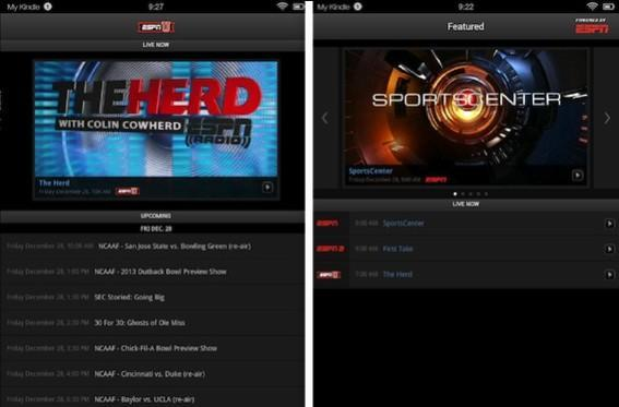 WatchESPN sports streaming reaches Amazon Kindle Fire tablets