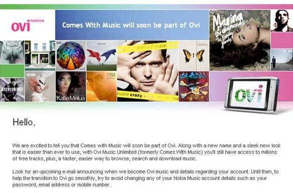 Nokia now Comes With Music morphing into Ovi Music Unlimited everywhere