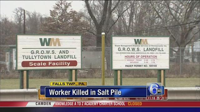 Worker killed after becoming trapped in rock salt pile in Bucks County