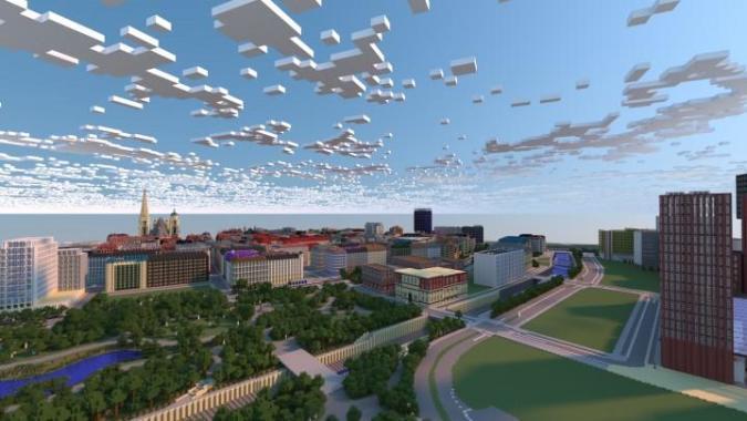 Wien aus Minecraft-Blöcken