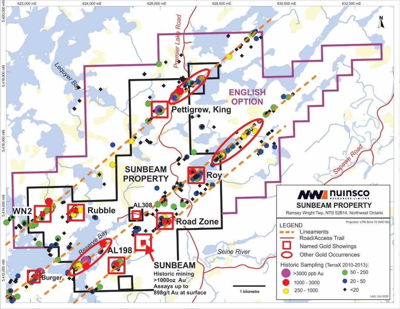 Map Of Nwi Precision, Toronto, Canada Nuinsco Doubles Strike Length at Sunbeam Gold Property, New Option