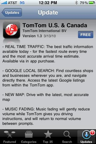 TomTom iPhone app hits 1.3, gains real-time traffic and Google local search