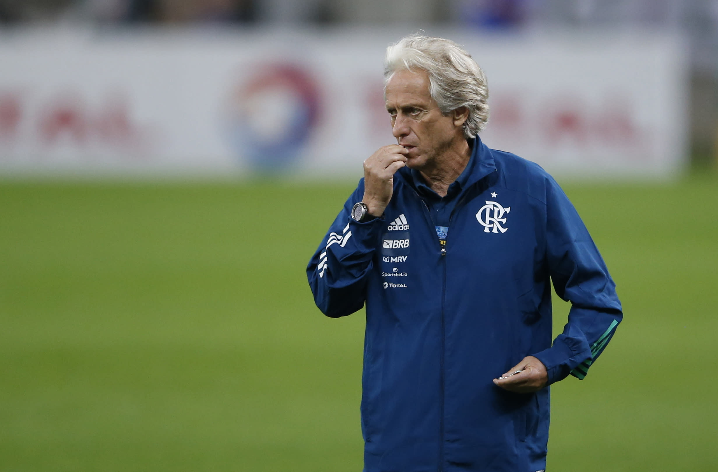 Flamengo's coach Jorge Jesus gestures before the Rio de Janeiro state championship final soccer match at the Maracana stadium, Rio de Janeiro, Brazil, Wednesday, July 15, 2020. The match is being played without spectators to curb the spread of COVID-19. (AP Photo/Leo Correa)