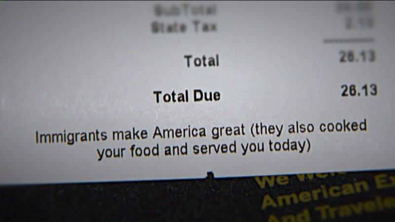 Top Chef Alum Prints Immigrants Make America Great On Customers - Making receipts for customers