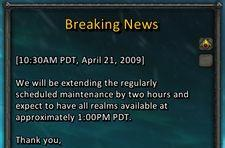 Maintenance extended by two hours