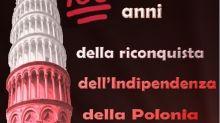 100 anni Indipendenza, Torre di Pisa illuminata con colori Polonia