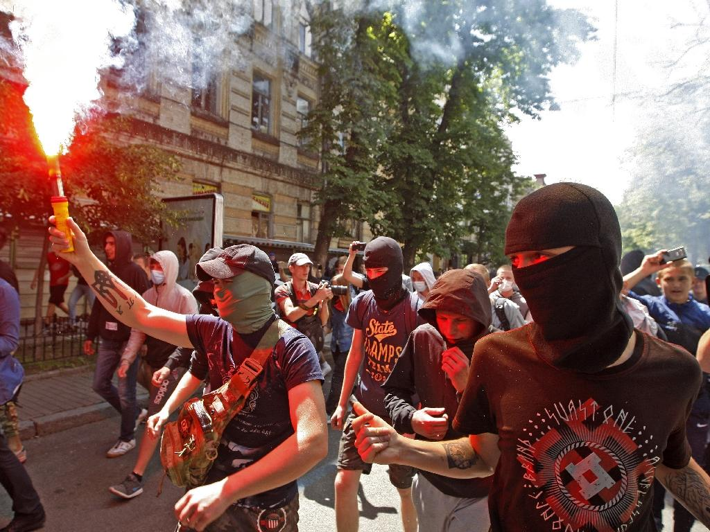 Far-right activists have acted LGBT events in the Ukraine before as at the 2016 Gay Pride rally in Kiev in 2016 (AFP Photo/YURIY KIRNICHNY)