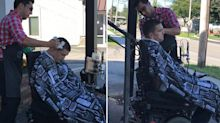 Barber moves his shop outside to cut disabled man's hair