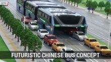 Futuristic chinese bus concept that can travel above cars revealed