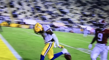 LSU's Jontre Kirklin makes heads up play for TD after Kayshon Boutte drops ball before goal line