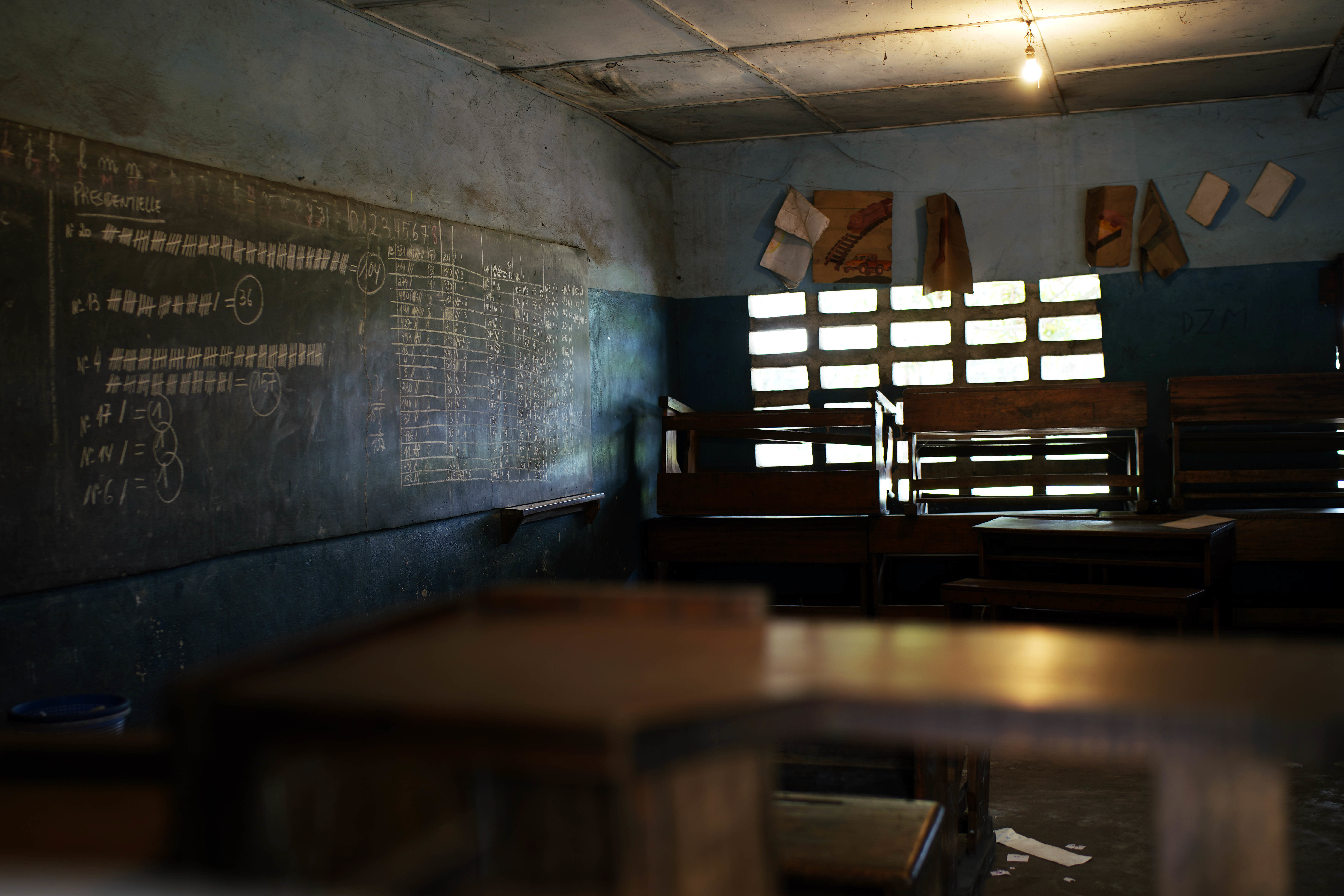 This photo taken Friday Jan. 4, 2019 shows a blackboard with presidential election results for that specific polling station, in a school in Kinshasa, Congo. Congo faces what could be its first democratic, peaceful transfer of power since independence from Belgium in 1960, but election observers and the opposition have raised numerous concerns about voting irregularities as the country chooses a successor to longtime President Joseph Kabila. (AP Photo/Jerome Delay)