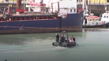 Migrants arrive in Dover on Border Force boats