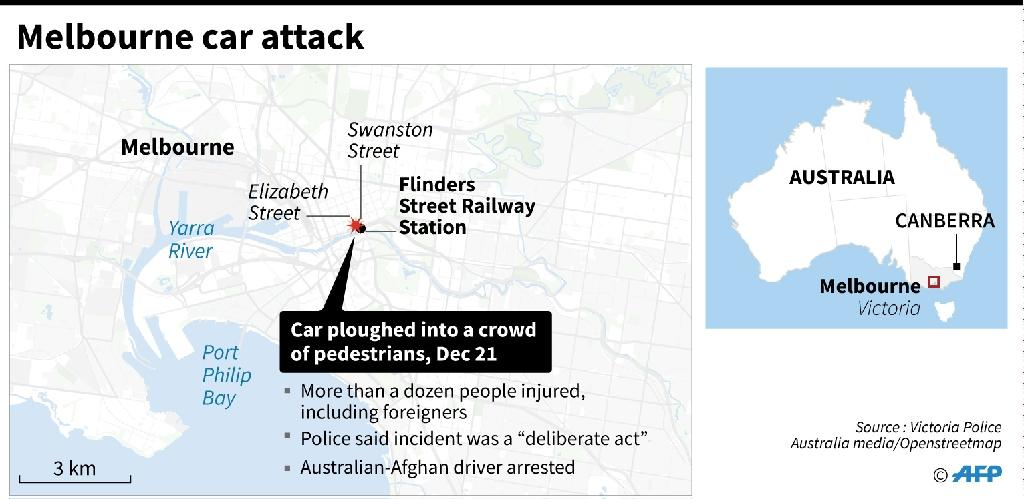 Close-up map of Melbourne locating the area where a car ploughed into a crowd. (AFP Photo/Laurence CHU)