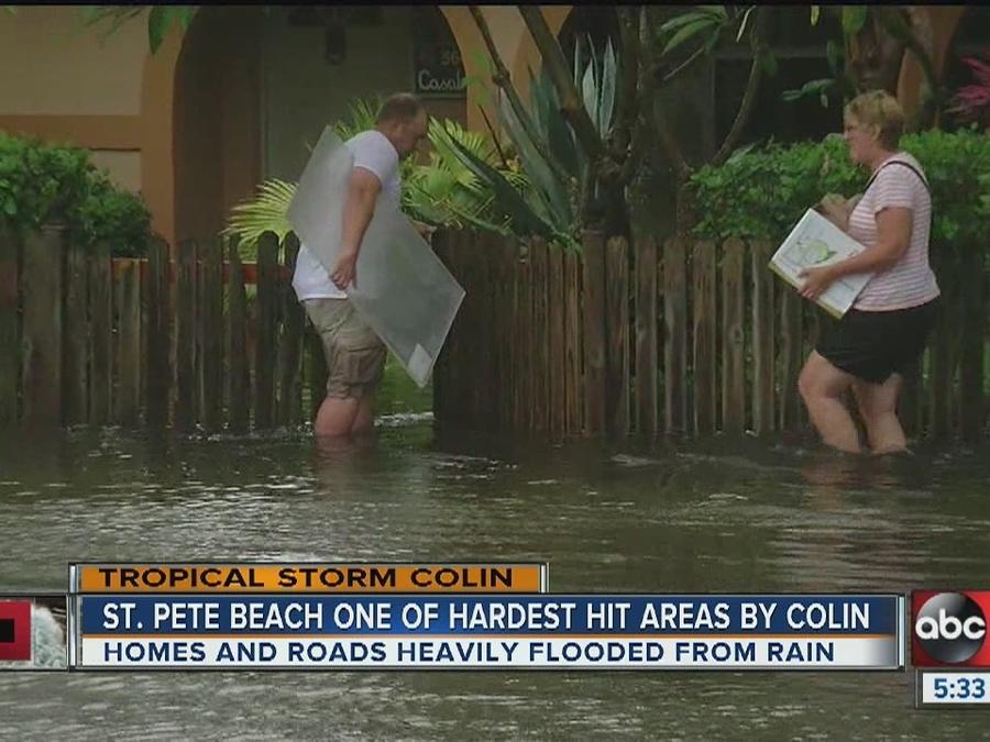 Tropical Storm Colin St Pete Beach Homes And Roads Heavily Flooded By Rain Video