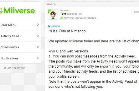 Wii U's Miiverse now lets you post directly from the Activity Feed