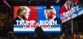 Television screen showing the first presidential debate. (Getty Images)
