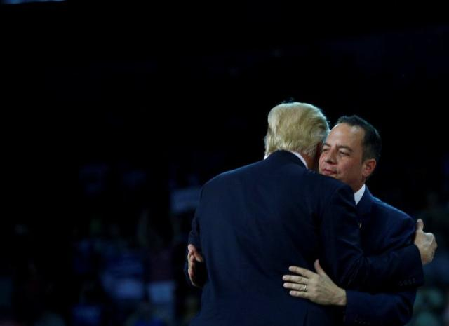 Donald Trump greets Republican National Committee Chairman Reince Priebus at a campaign rally in Erie, Pa. (Photo: Eric Thayer/Reuters)