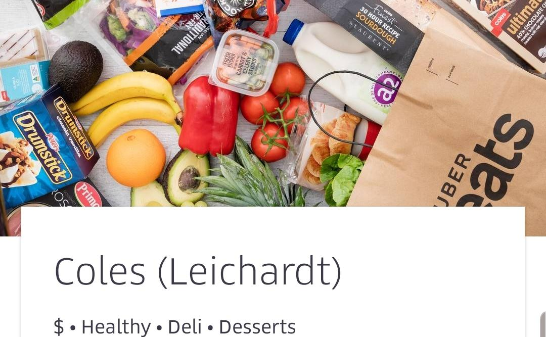 Coles just started selling groceries on Uber Eats
