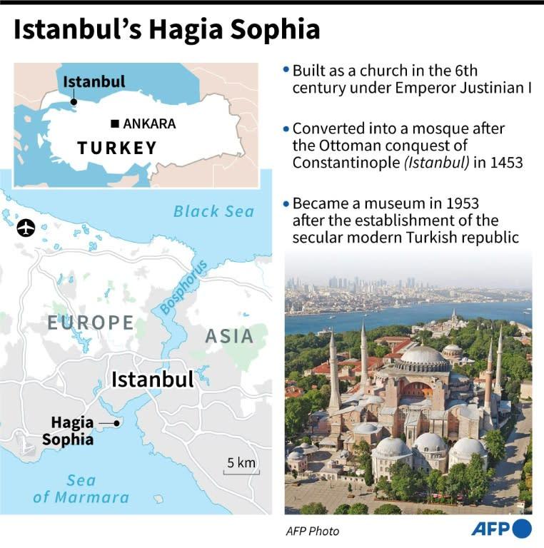 Factfile on the Byzantine masterpiece of Hagia Sophia in Istanbul (AFP Photo/Robin BJALON)