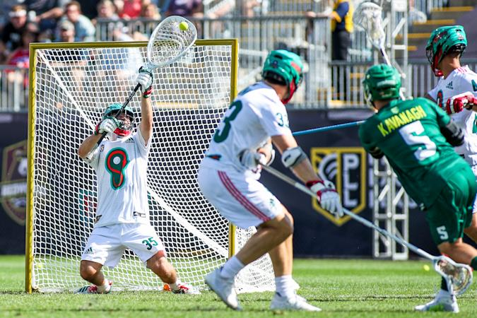 CHESTER, PA - SEPTEMBER 21: Whipsnakes goalie Kyle Bernlohr (35) makes a big save during the PLL championship game between the Redwoods Lacrosse Club and Whipsnakes Lacrosse Club on September 21, 2019 at Talen Energy Stadium in Chester, PA.(Photo by Nicole Fridling/Icon Sportswire via Getty Images)