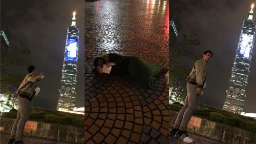 ▲陽岱鋼老婆躺在地上幫老公拍照。(圖/取自陽岱鋼臉書)