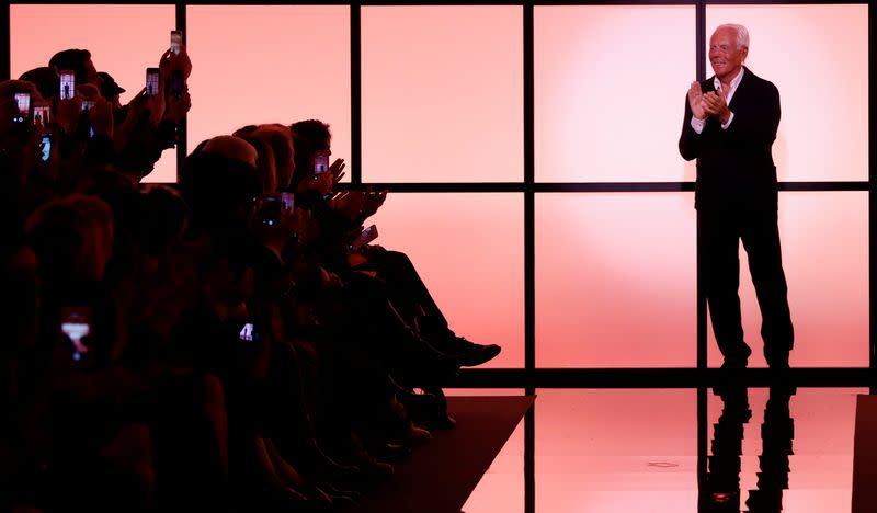 FILE PHOTO: Italian designer Giorgio Armani appears at the end of his Haute Couture Spring/Summer 2017 fashion show for Giorgio Armani Prive in Paris