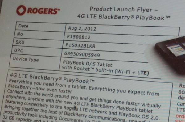 Leaked Rogers memo details its BlackBerry Playbook 4G LTE pricing options
