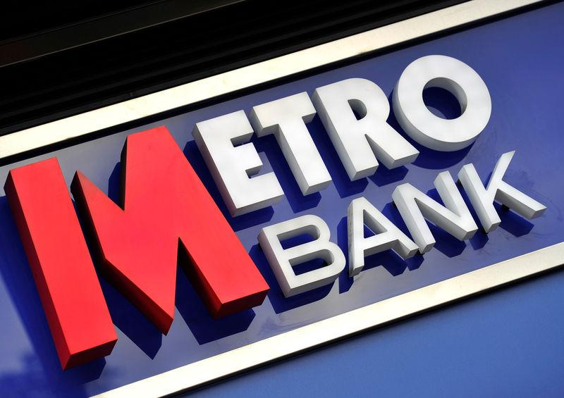 FILE PHOTO: A Metro Bank sign outside one of its London branches