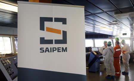 FILE PHOTO - A Saipem logo in seen on the bridge of the Saipem 10000 deepwater drillship in Genoa's harbour