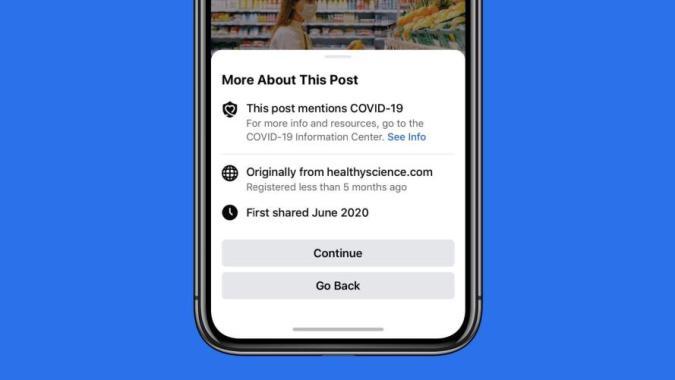 Facebook will show pop-ups before users share coronavirus articles.