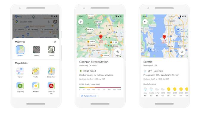 Google Maps Weather and Air Quality layers
