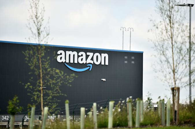 LEEDS, ENGLAND - MAY 27: A general view outside an Amazon UK Services Ltd Warehouse at Leeds Distribution Park on May 27, 2021 in Leeds, England. (Photo by Nathan Stirk/Getty Images)