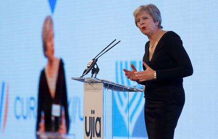 Britain's Prime Minister Theresa May speaks at the United Jewish Israel Appeal charity dinner in London, Britain, September 17, 2018. REUTERS/Peter Nicholls/Pool