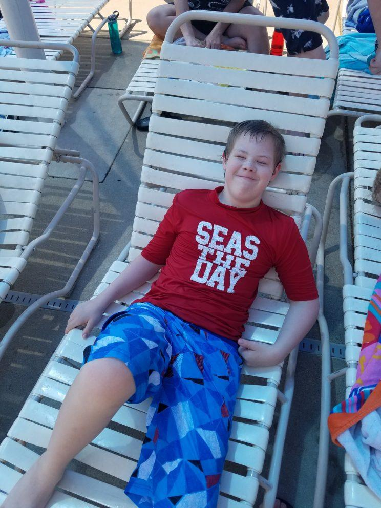 Brandon Rumphol enjoying time at the pool