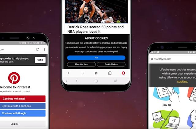 Opera for Android will get rid of annoying cookie prompts