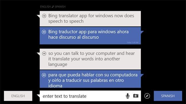Bing Translator for Windows repeats what you said, but in another language