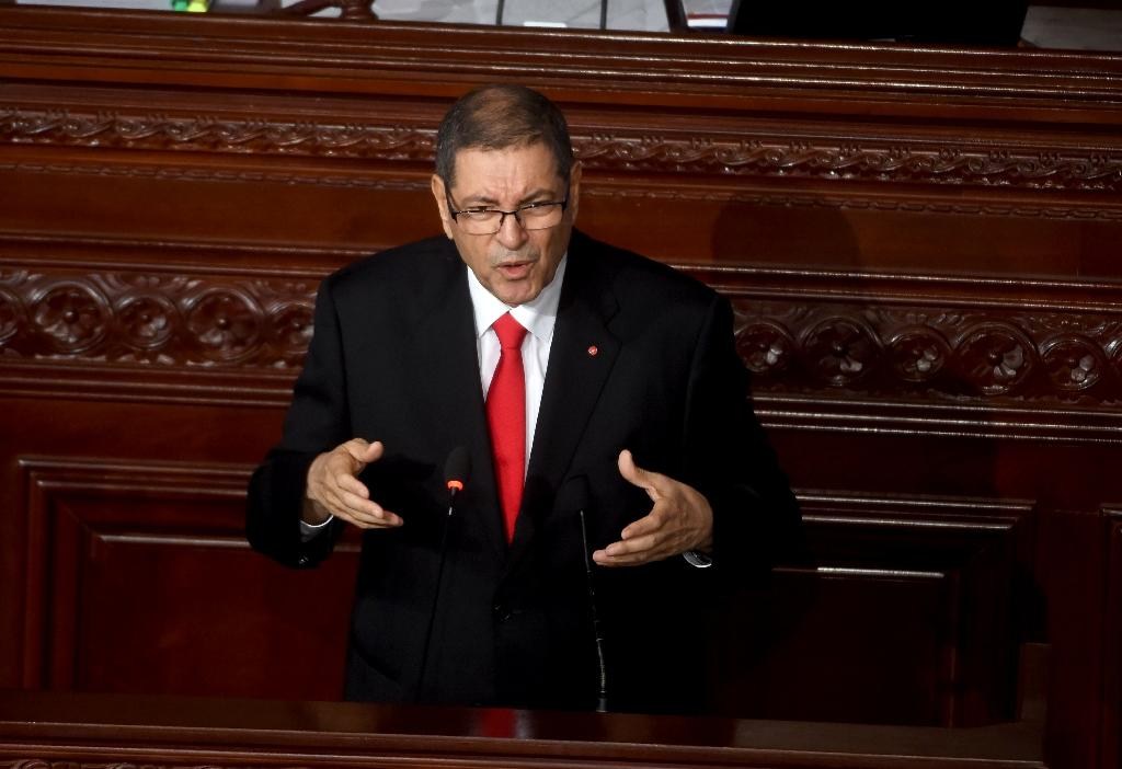 Tunisian Prime Minister Habib Essid delivers a speech at the Tunisian Parliament on July 30, 2016 in the capital Tunis (AFP Photo/Fethi Belaid)