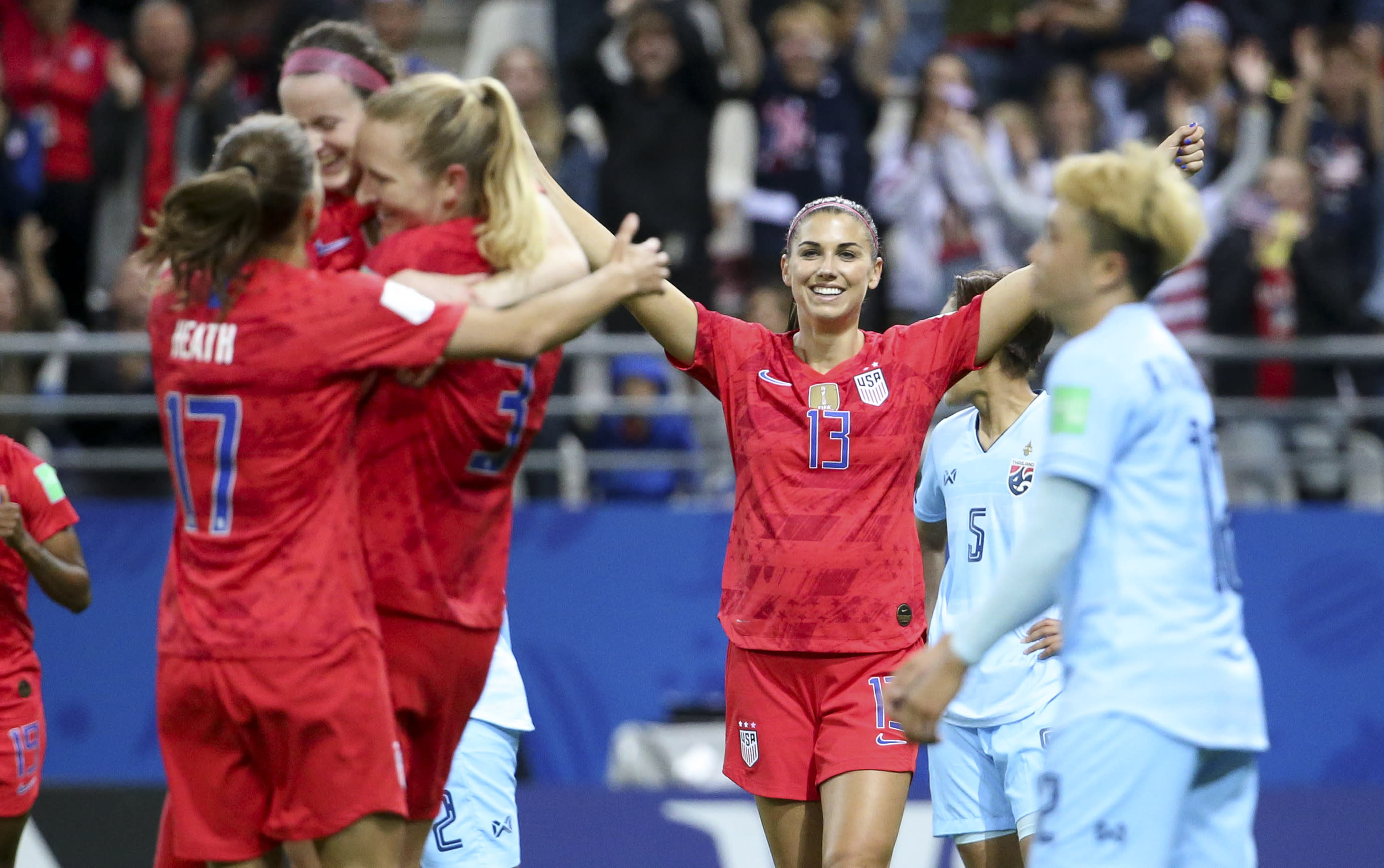 Alex Morgan of USA celebrates a goal with teammates during their team's 2019 FIFA Women's World Cup win over Thailand. (Getty)