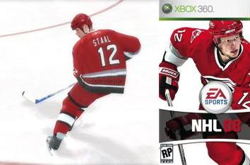 Eric Staal featured on NHL 08 box art