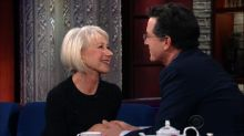 Helen Mirren and Stephen Colbert Share Surprisingly Intimate Kisses