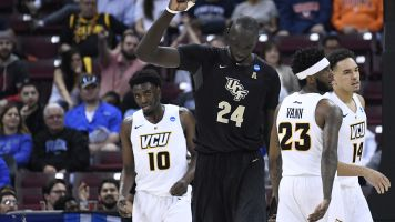 Tacko Fall is taller than opponents on his knees